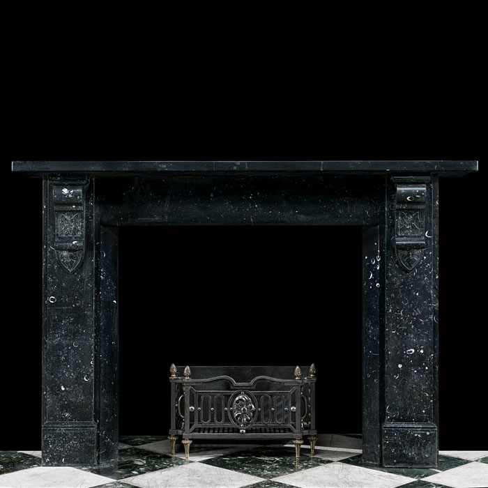 A Black Kilkenny Fossil Marble Fireplace