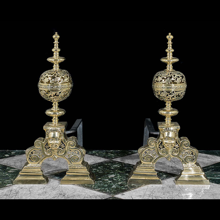 Pair of Tall Baroque Style Brass Andirons