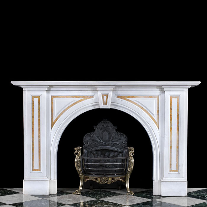 A large Statuary Marble arched fireplace