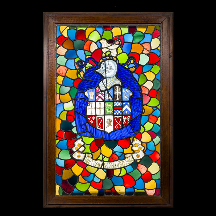 A stained leaded glass chapel window