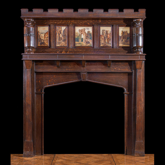 An Arts and Crafts oak fire surround