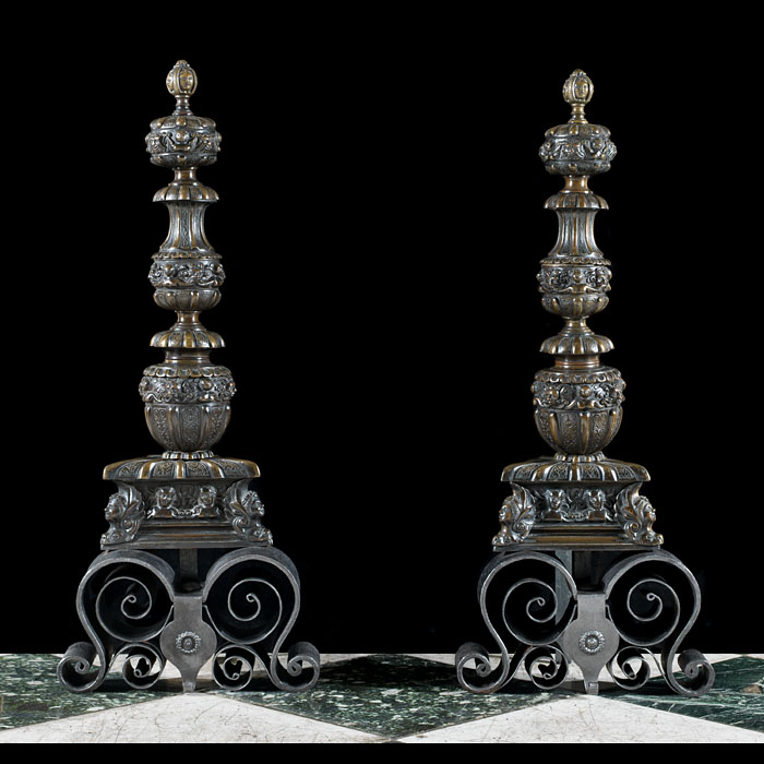 A pair of Baroque style bronze andirons