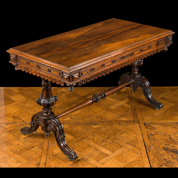 A 19th century rosewood library table