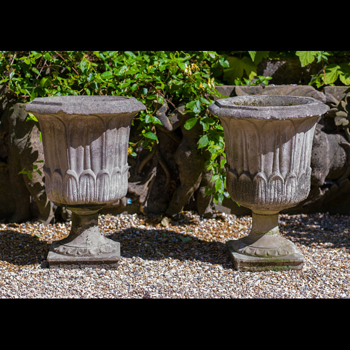 A Pair of Reconstituted Stone Garden Urns