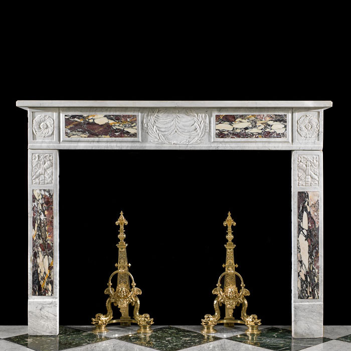 An Italian Carrara Marble Fireplace Surround