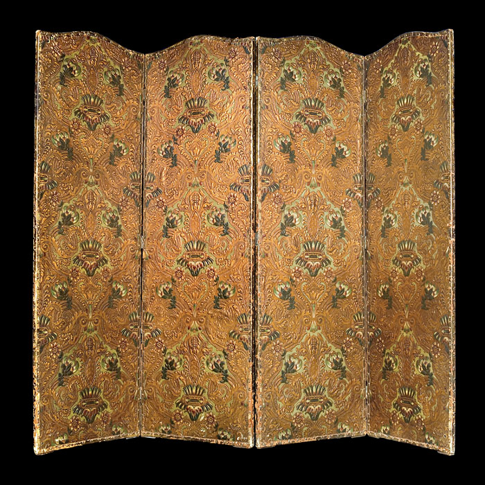 An Italian embossed leather room screen