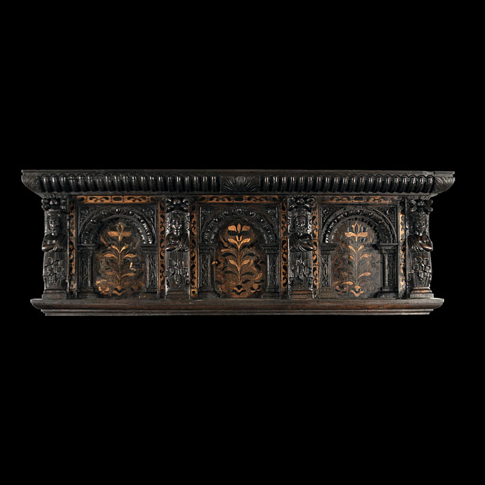 A 17th Century Inlaid Oak Overmantel