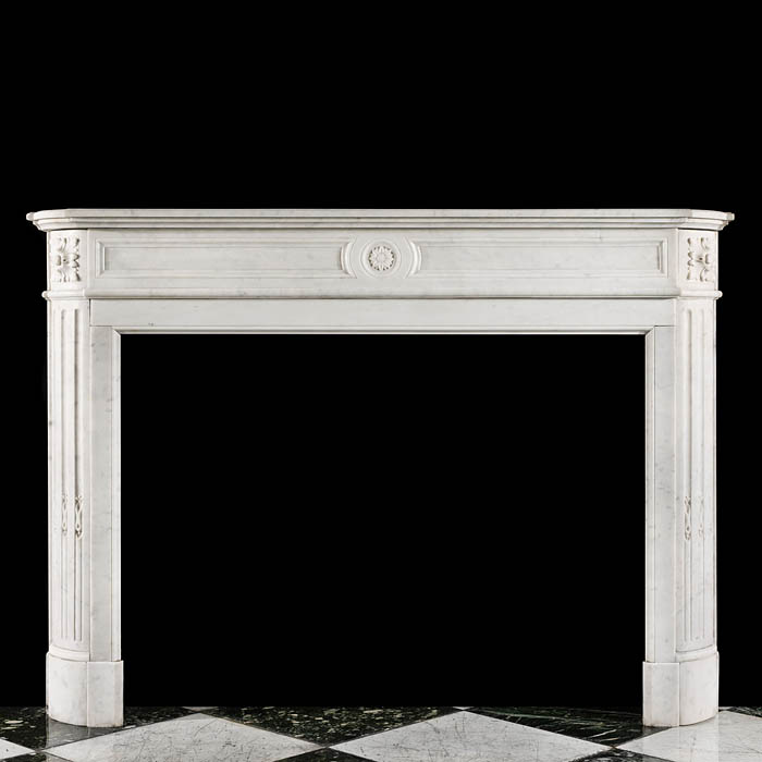 A Small Louis XVI Carrara Marble Fireplace